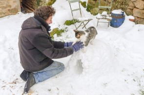 Building an igloo with the cat...