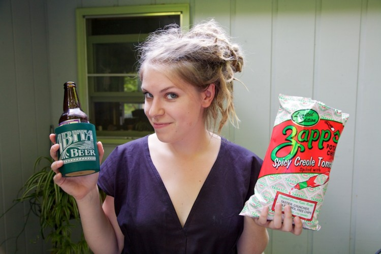Lena with Zapps and Abita Beer