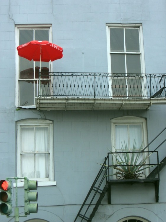 Red Umbrella on Porch